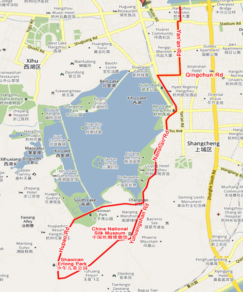 Bicycle Routes in Hangzhou